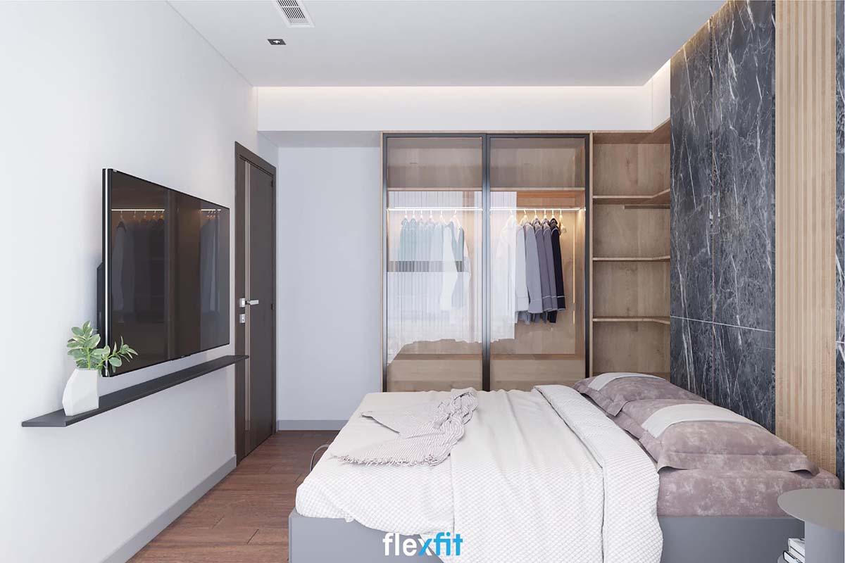 Tủ quần áo cánh kính gỗ MDF phủ Melamine cao 2m2