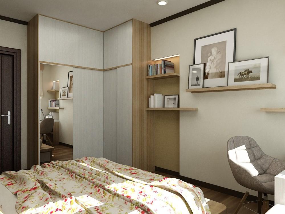 Tủ quần áo chữ L được đặt ở góc phòng, với màu gỗ sáng mang lại sự trẻ trung, thanh lịch. Bên cạnh đó thiết kế lắp gương ở cánh tủ mang lại hiệu quả cao trong việc nhân đôi không gian.