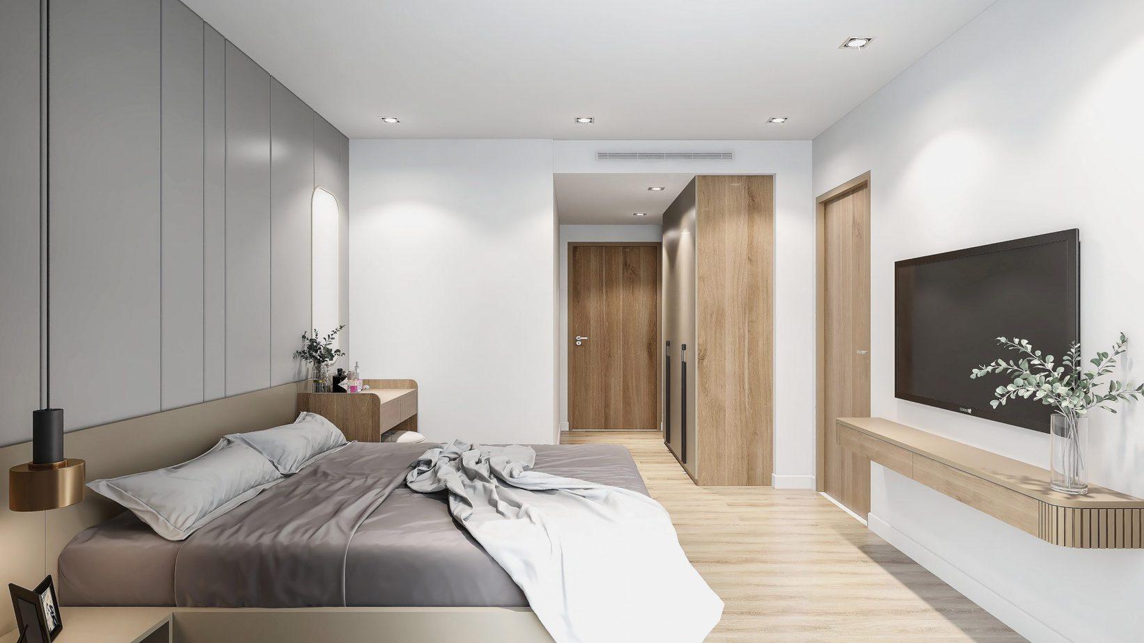 Các đồ nội thất được giản lược để mang tới không gian sinh hoạt thuận tiện nhất cho đôi lứa