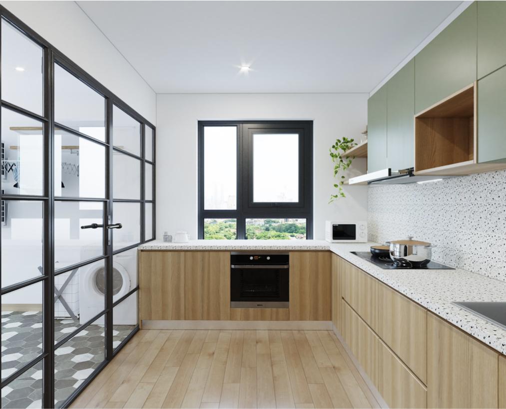 Thiết kế cửa sổ gần hoặc ở trong phòng bếp sẽ giúp không gian bếp luôn thông thoáng, tràn ngập ánh sáng tự nhiên