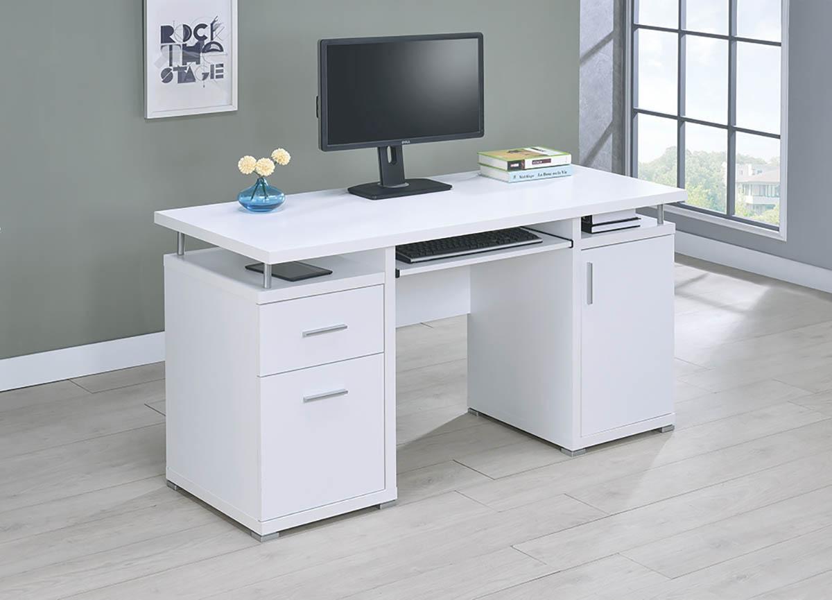 Bàn làm việc đặt máy tính màu trắng hiện đại