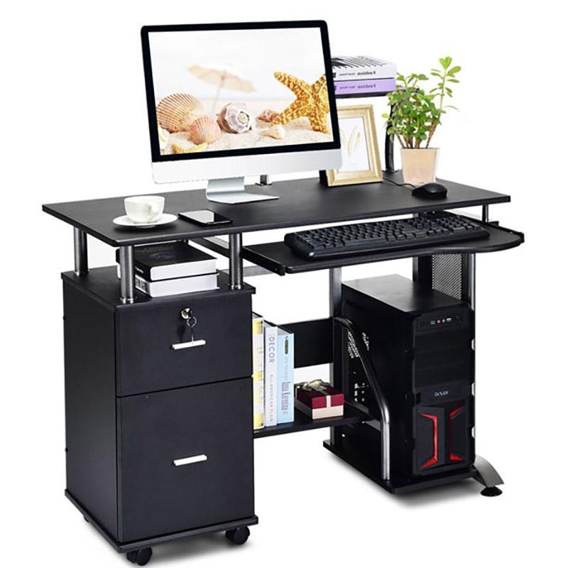 Bàn làm việc có tủ khóa và bàn đặt máy tính màu đen