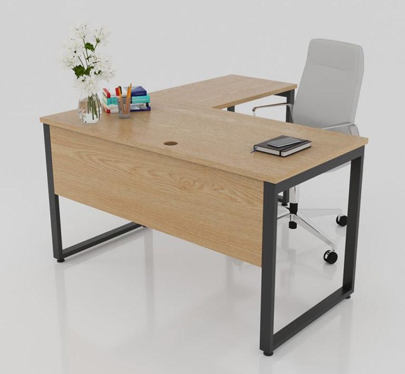 Bàn làm việc hình chữ L cho văn phòng với màu nâu gỗ