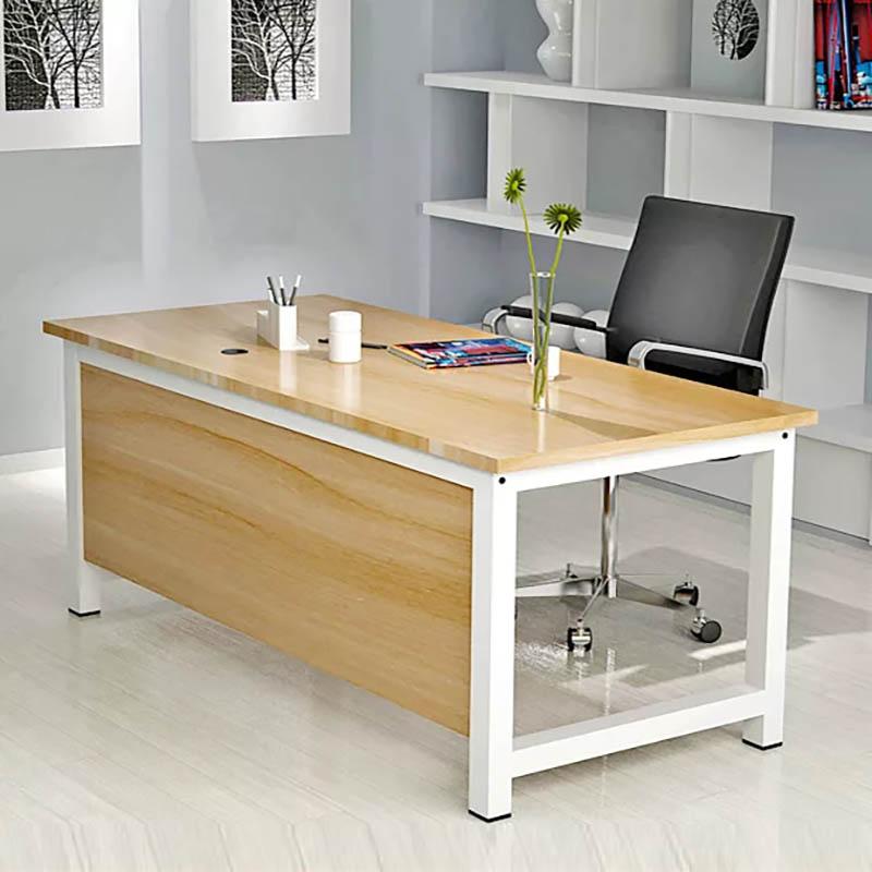 Bàn làm việc hình chữ L chân sắt màu trắng và mặt bàn gỗ công nghiệp