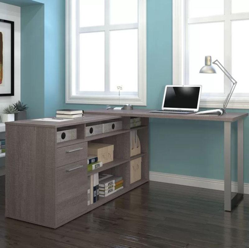 Bàn làm việc hình chữ L có tủ chứa đồ và ngăn kéo bằng gỗ