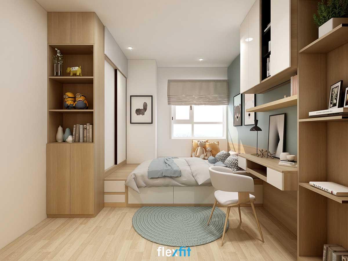 Giường có ngăn kéo gỗ MDF phủ Melamine kích thước 1m8