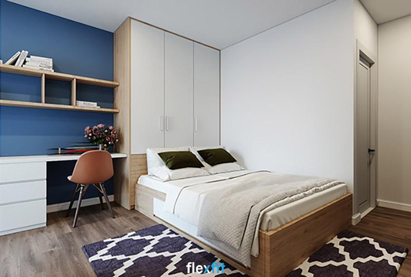 Giường có ngăn kéo gỗ MDF phủ Melamine màu nâu - trắng