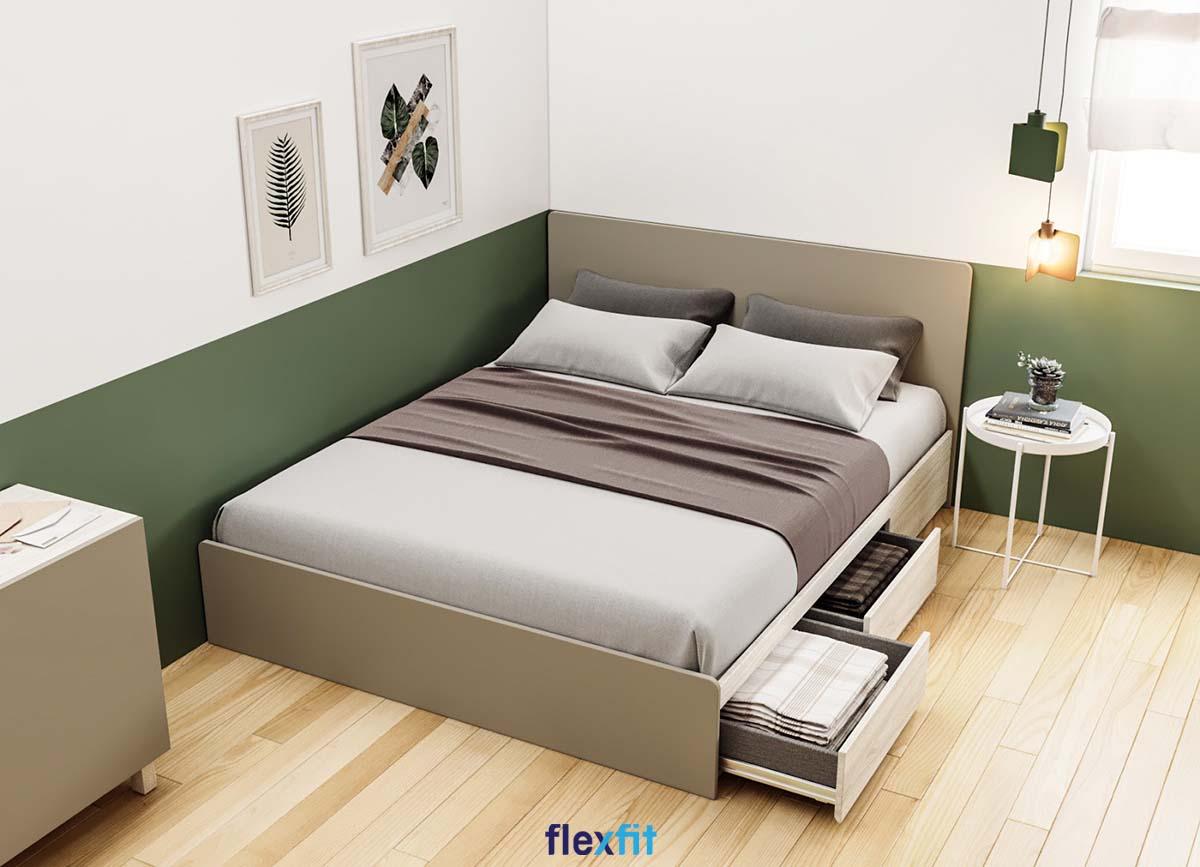 Giường ngủ gỗ công nghiệp được tích hợp thêm ngăn kéo có ray trượt tiện dụng