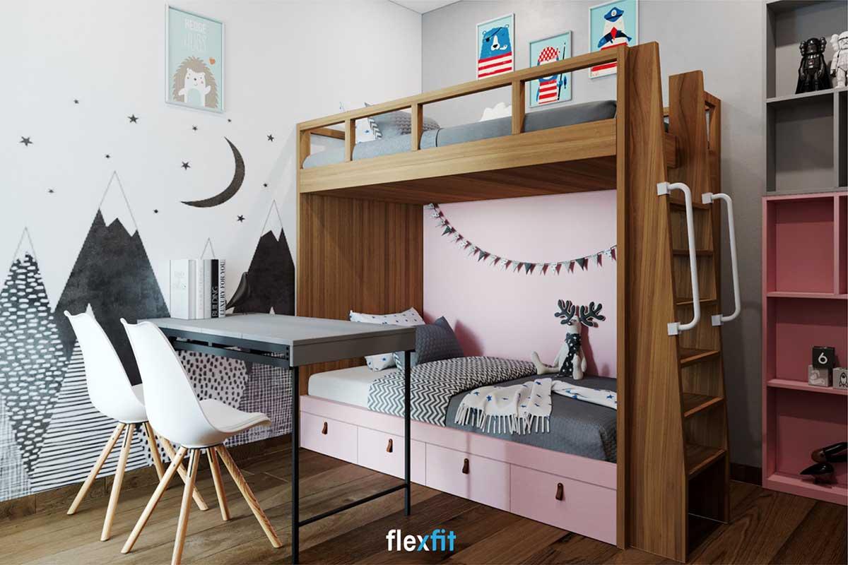 Giường tầng là lựa chọn hoàn hảo cho những gia đình có hai bé giúp gia tăng tình cảm giữa các con