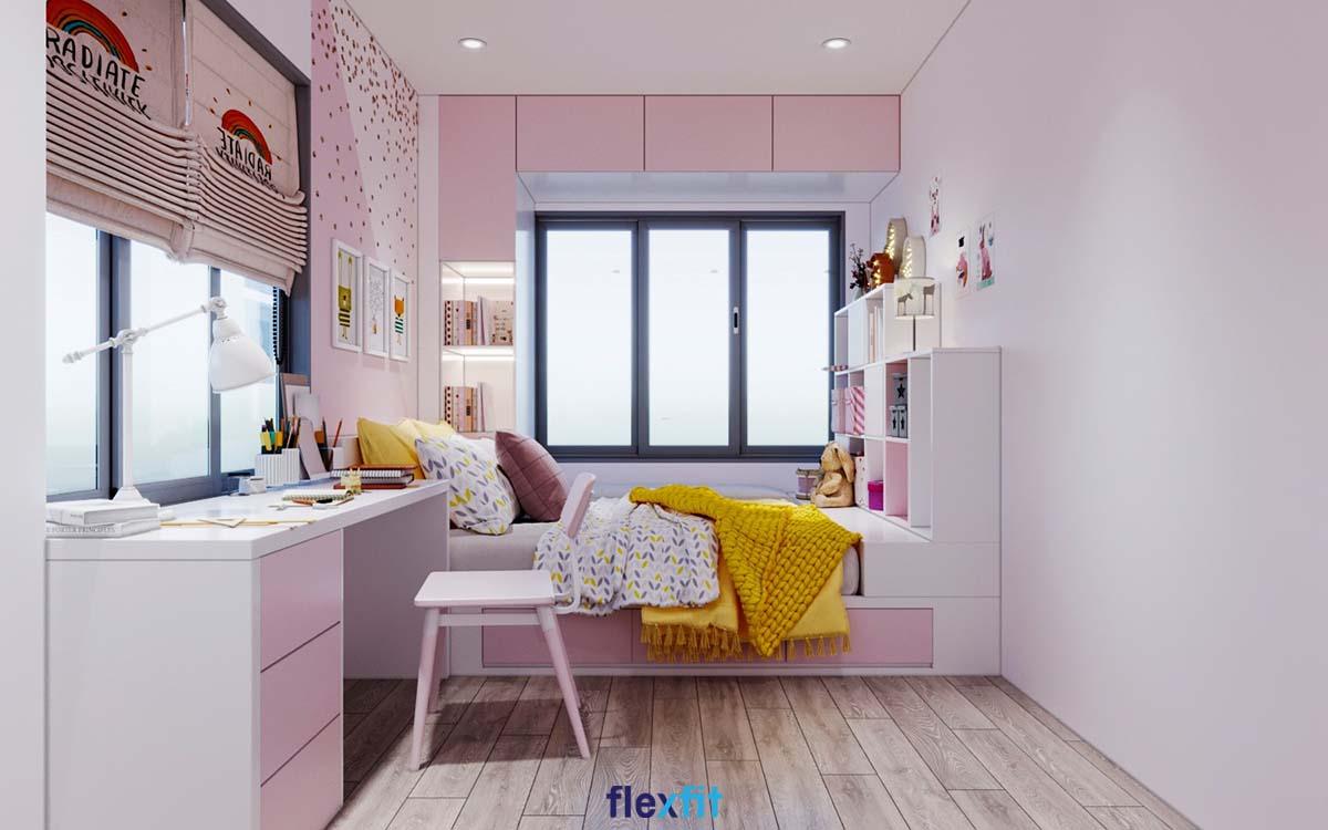 Từ các họa tiết trang trí tường đến các sản phẩm nội thất được trang trí màu hồng - trắng vô cùng bắt mắt, dịu dàng.