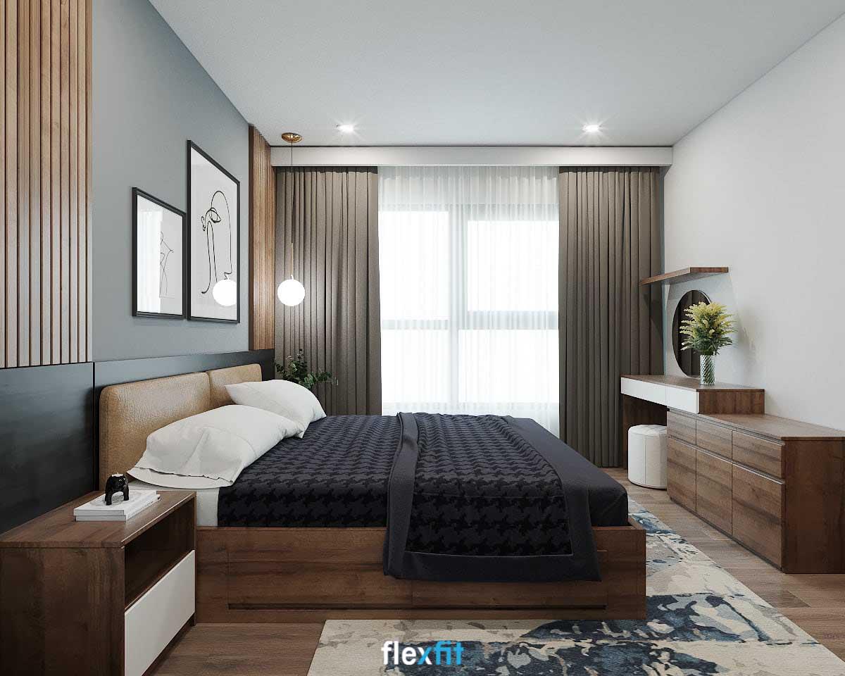 Giường có ngăn kéo màu nâu trầm vân gỗ