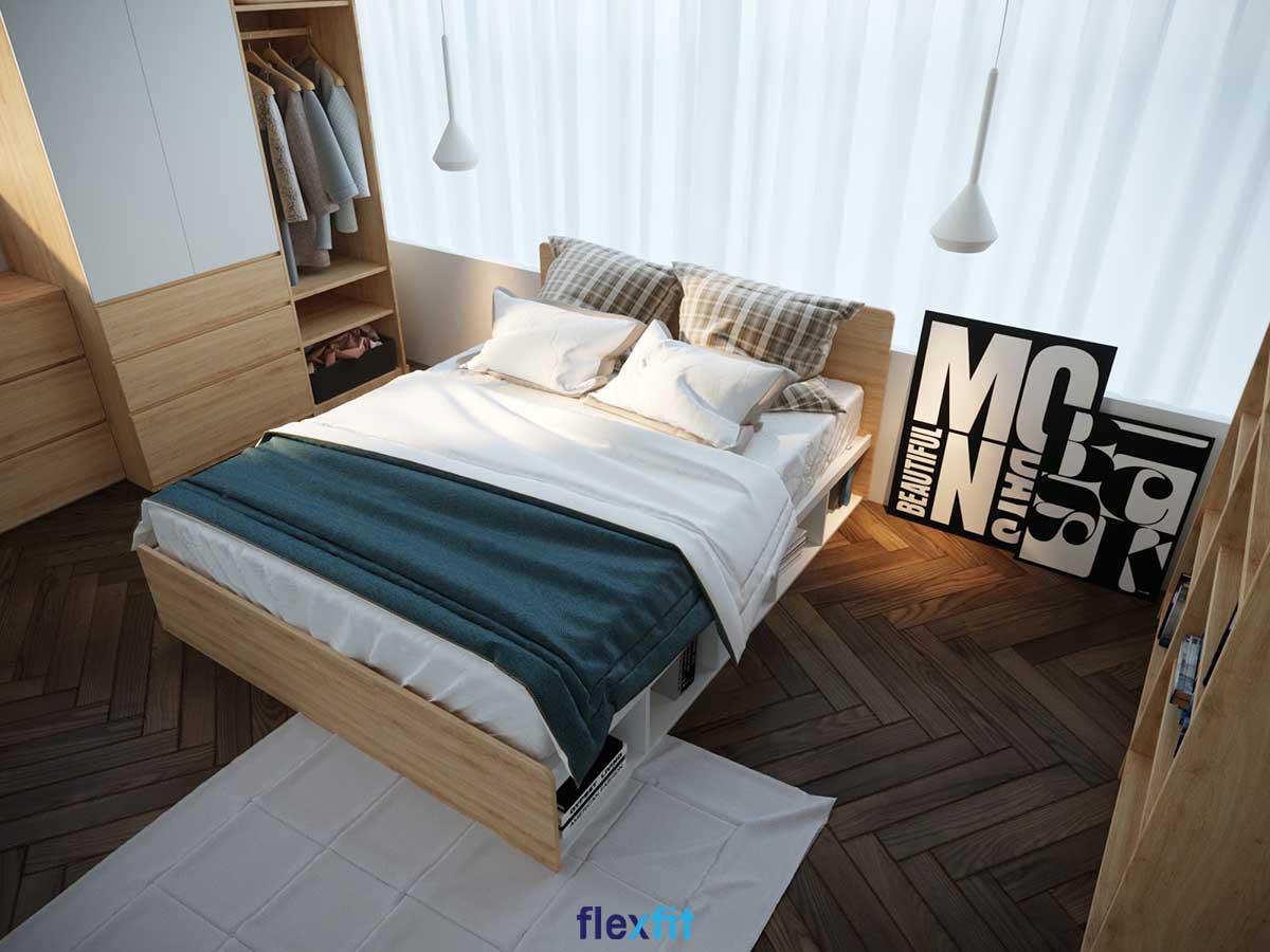 Giường ngủ 2m chất liệu gỗ MDF phủ Melamine phù hợp với phong cách hiện đại, giá thành rẻ hơn gỗ tự nhiên. Giường có thiết kế ô tủ chia ngăn không cánh để sách, đồ trang trí và ngăn kéo ở hai bên tăng không gian lưu trữ cho căn phòng.