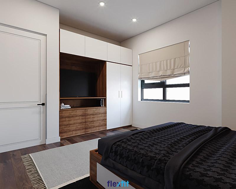 Giường có ngăn kéo gỗ MDF phủ Laminate màu nâu - trắng