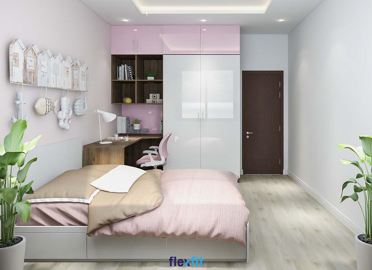 Giường có ngăn kéo màu trắng - hồng ngọt ngào