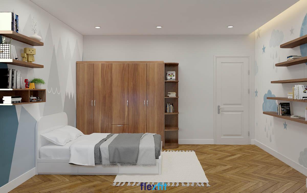 Giường có ngăn kéo gỗ MDF phủ Laminate màu trắng tinh khôi