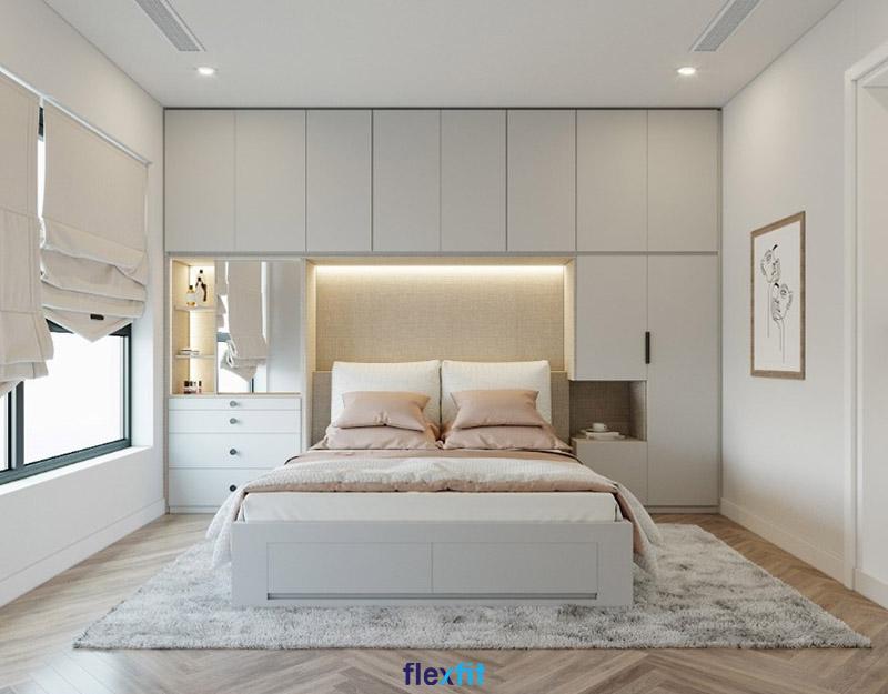 Giường có ngăn kéo màu trắng sáng liền với tủ quần áo