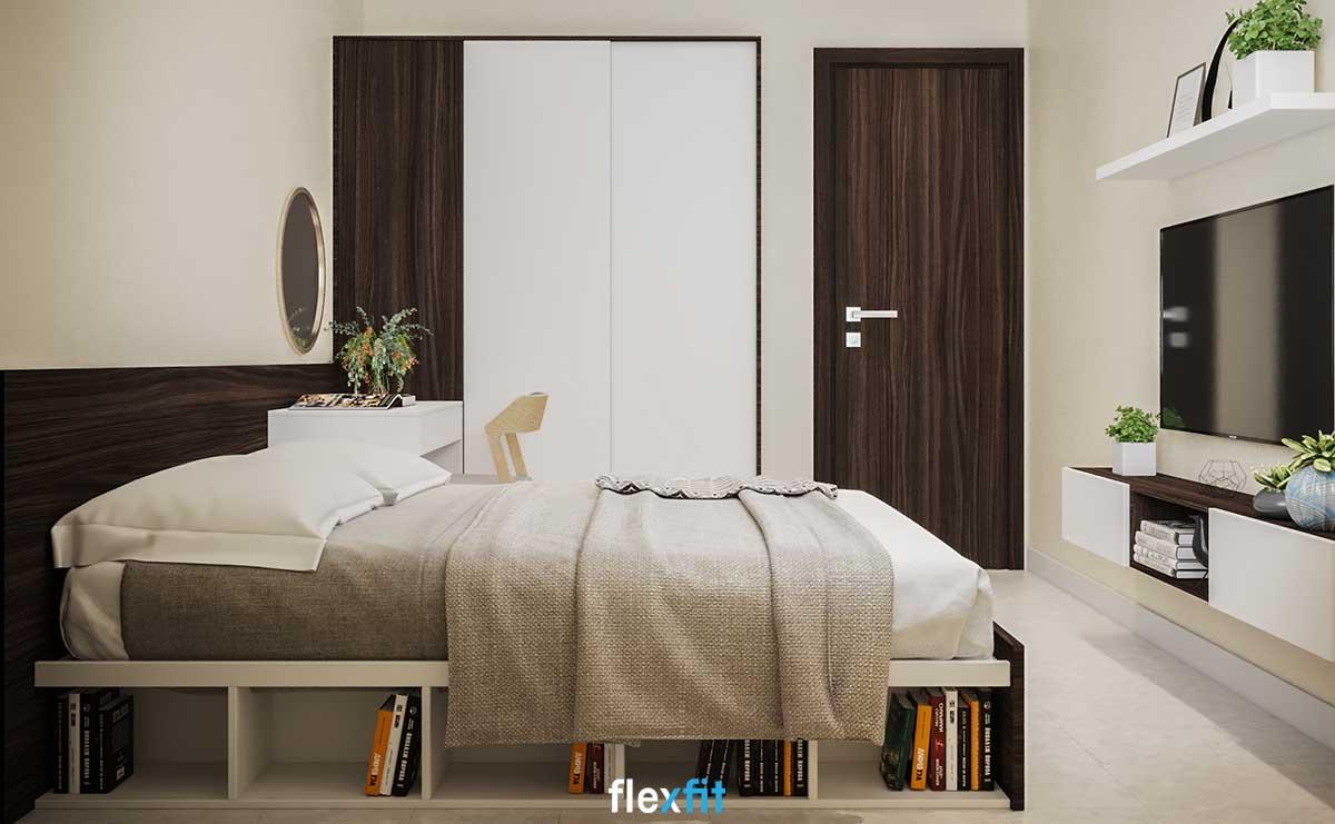 Phòng ngủ nhỏ chắc còn là nỗi lo lắng về sự bất tiện vì sự có mặt của mẫu giường ngủ thông minh này. Giường được thiết kế các ô tủ mở ở cạnh bên giường giúp bạn có thể đặt để những cuốn sách mình yêu thích và sử dụng tiện lợi.
