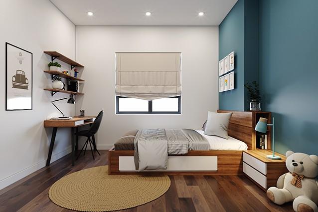 Giường MDF vân gỗ cho không gian thêm sang trọng, bắt mắt