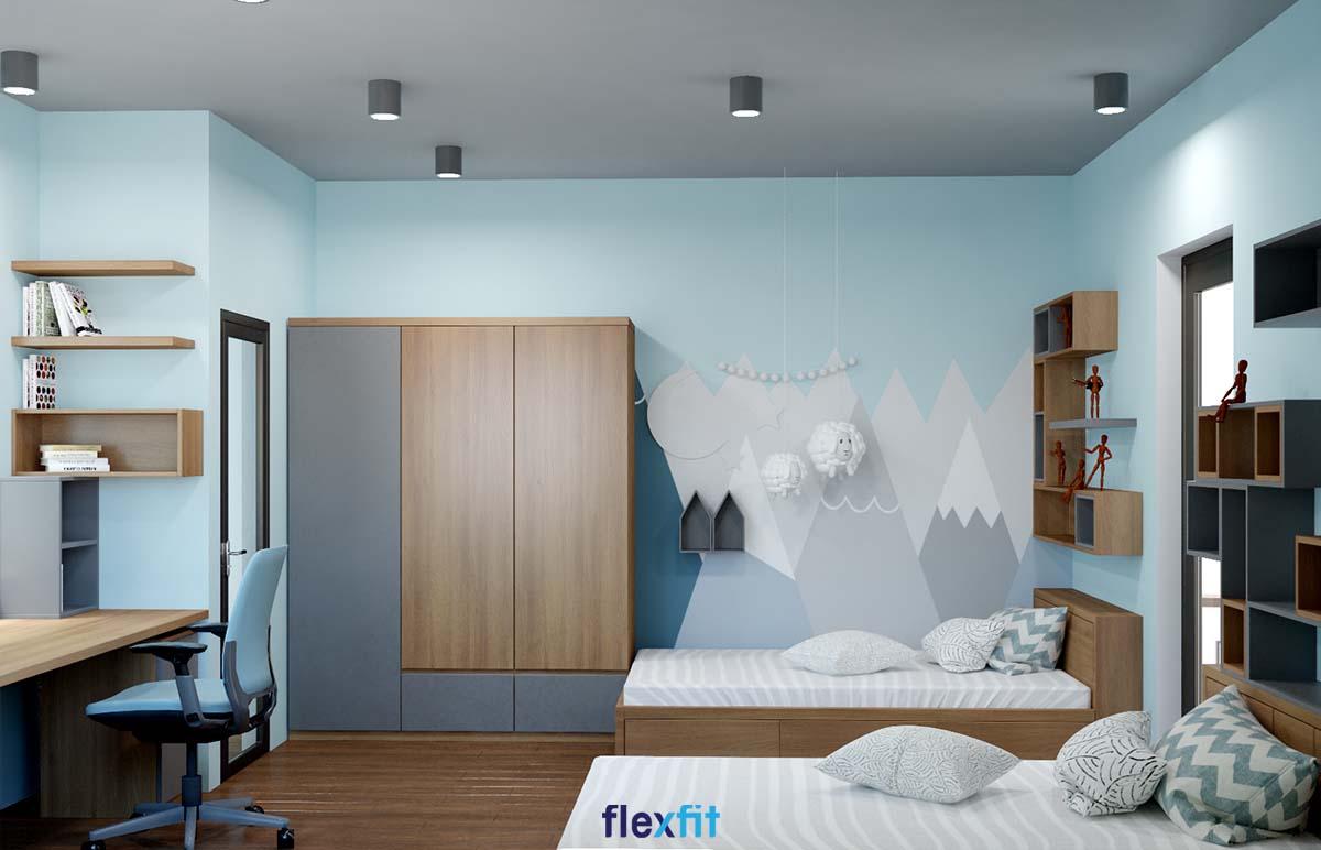 Giường có ngăn kéo gỗ MDF phủ Melamine màu nâu vân gỗ