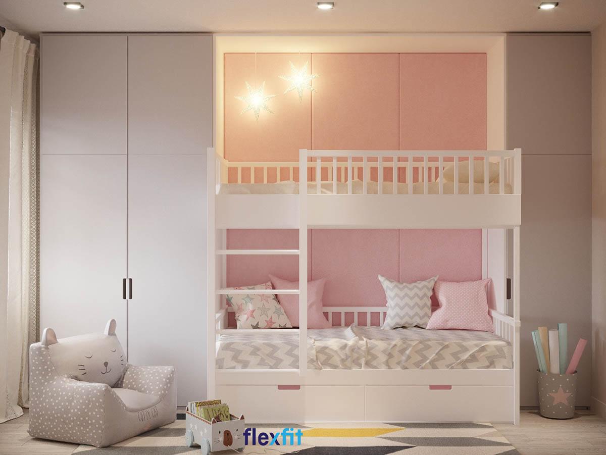 Chắc chắn các bé gái sẽ rất thích thiết kế giường ngủ này, bởi gam màu trắng phối hồng pastel như bước vào phòng của công chúa nhỏ. Giường tầng tích hợp tủ quần áo tiện dụng rất phù hợp với gia đình có hai bé gái.
