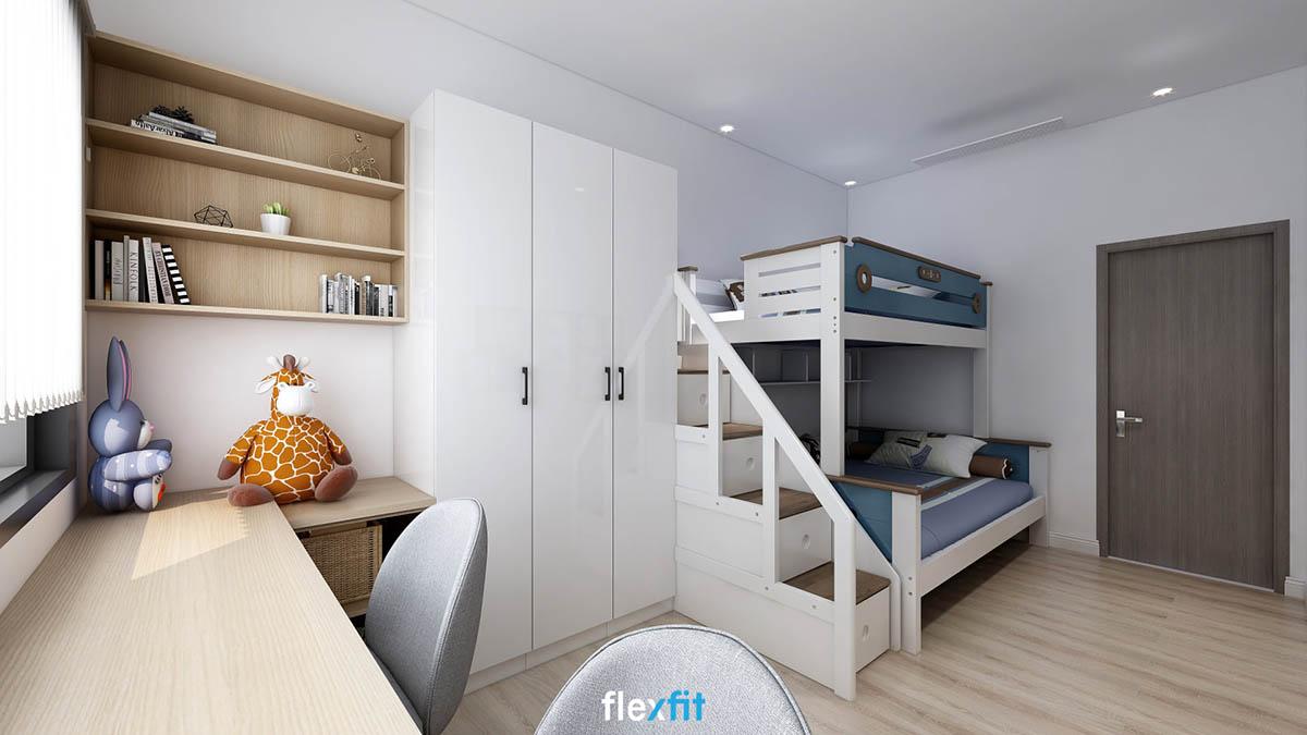 Thêm một mẫu thiết kế giường thông minh cho phòng của bé nữa mà bố mẹ không nên bỏ qua. Giường tầng 1m6 kết hợp liền mạch với tủ quần áo cùng hệ bàn - kệ sách đáp ứng tối đa nhu cầu sử dụng. Mỗi bậc thang lên xuống giường tầng cũng là một tủ đựng đồ hữu ích.