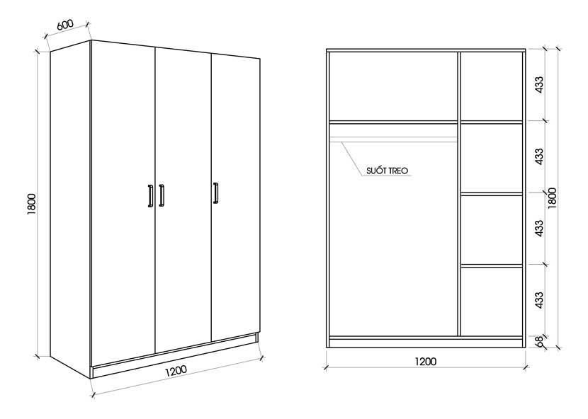 Kích thước tiêu chuẩn của tủ quần áo 3 cánh