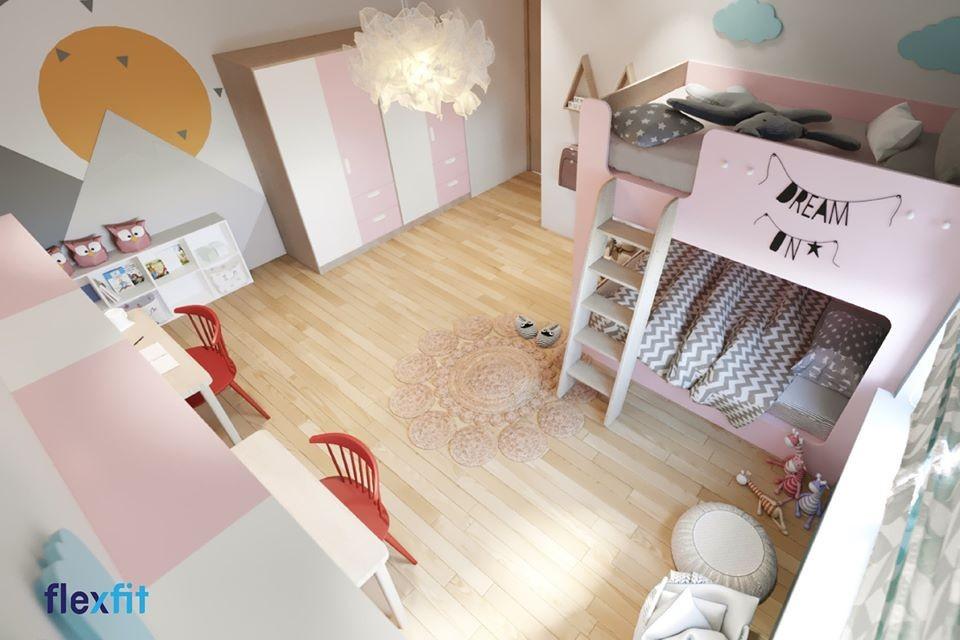 Phần thành giường cao bao quanh giường ở tầng trên giúp đảm bảo an toàn cho người nằm