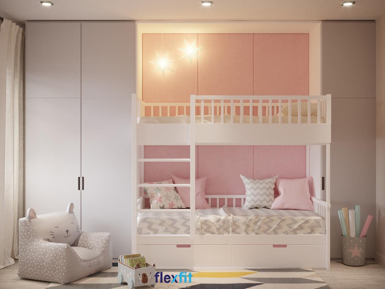 Phòng ngủ mộng mơ với gam màu hồng nữ tính cho bé gái