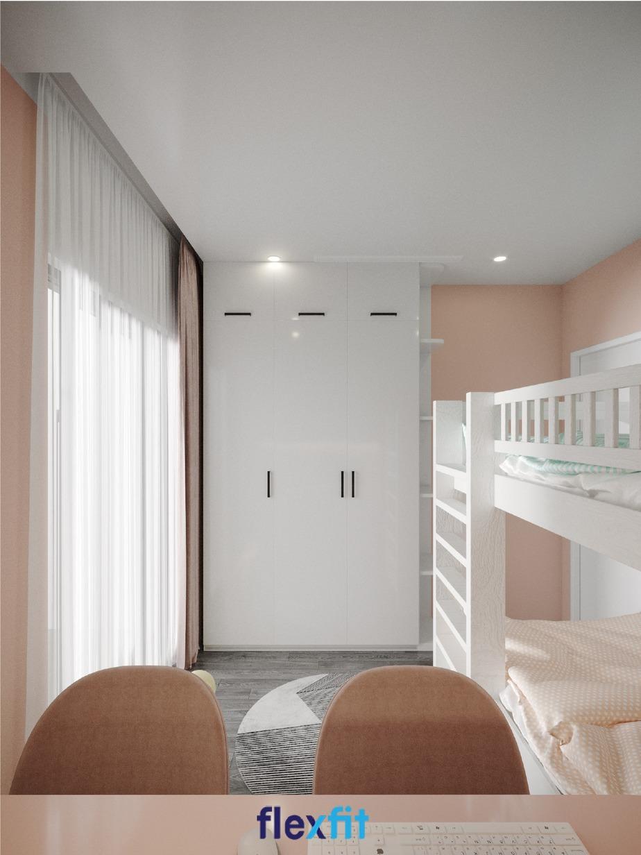 Phòng ngủ cho 2 bé thiết kế giường tầng tích hợp bàn học đôi đáp ứng nhu cầu nghỉ ngơi, học tập tốt nhất