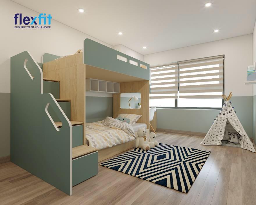 Giường tầng được thiết kế như một hình hộp chữ nhật giúp bạn dễ dàng di chuyển và sắp xếp một cách ngăn nắp, gọn gàng nhất