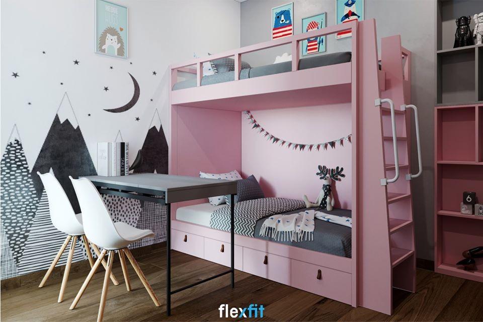 Mẫu giường tầng cho bé xinh xắn với gam hồng mộng mơ. Bên cạnh đó, chân giường còn được thiết kế ngăn tủ kéo mở dễ dàng tiện dụng.