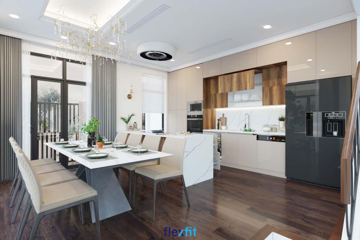 Tủ bếp Acrylic màu be cùng nâu vân gỗ hiện đại