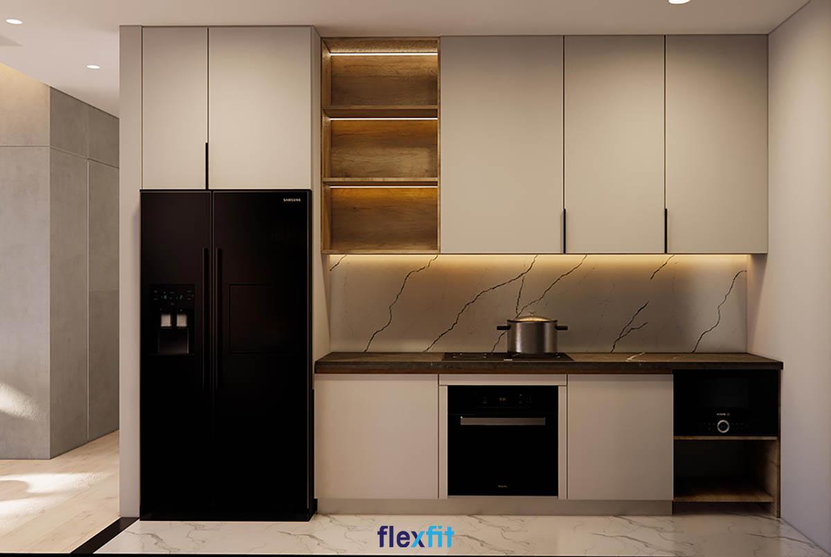 Tủ bếp Acrylic màu nâu nhạt sáng bóng