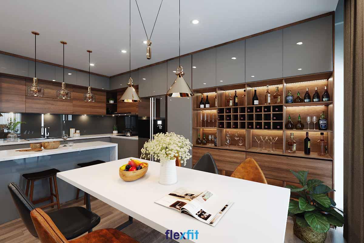 Tủ bếp Acrylic màu ghi và nâu vân gỗ có quầy bar