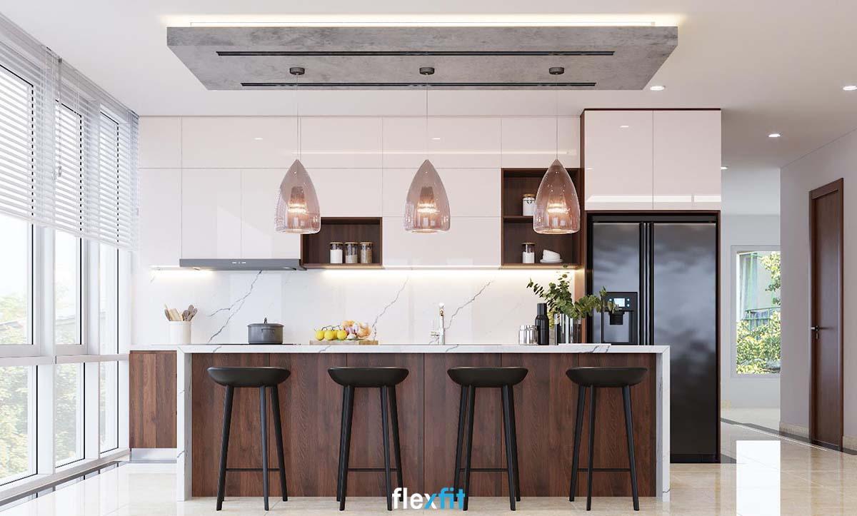 Tủ bếp Acrylic màu trắng cùng nâu óc chó làm sáng phòng bếp 8m2
