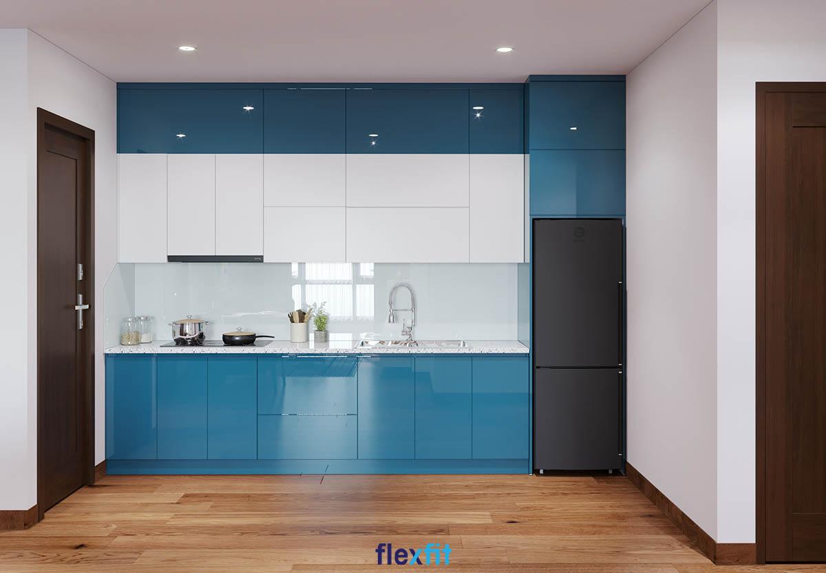 Tủ bếp Acrylic màu trắng và xanh dương hiện đại