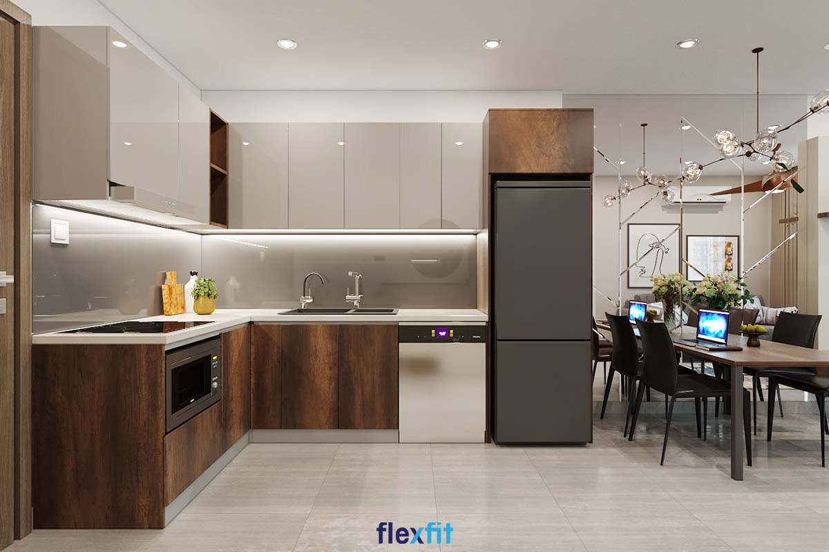 Tủ bếp Acrylic màu xám và nâu vân gỗ thanh lịch
