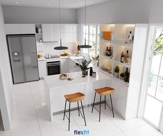 Tủ bếp chữ U này được tích hợp các ô trang trí độc đáo, tạo điểm nhấn cho không gian bếp của bạn. Sản phẩm được làm từ lõi MDF chống ẩm phủ Acrylic màu trắng hòa quyện với tông trắng của sơn tường và sàn nhà tạo sự cơi nới hiệu quả cho gian bếp.