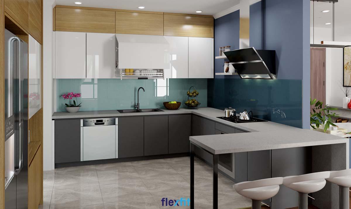 Tủ bếp Acrylic màu nâu gỗ, trắng và xanh xám hiện đại