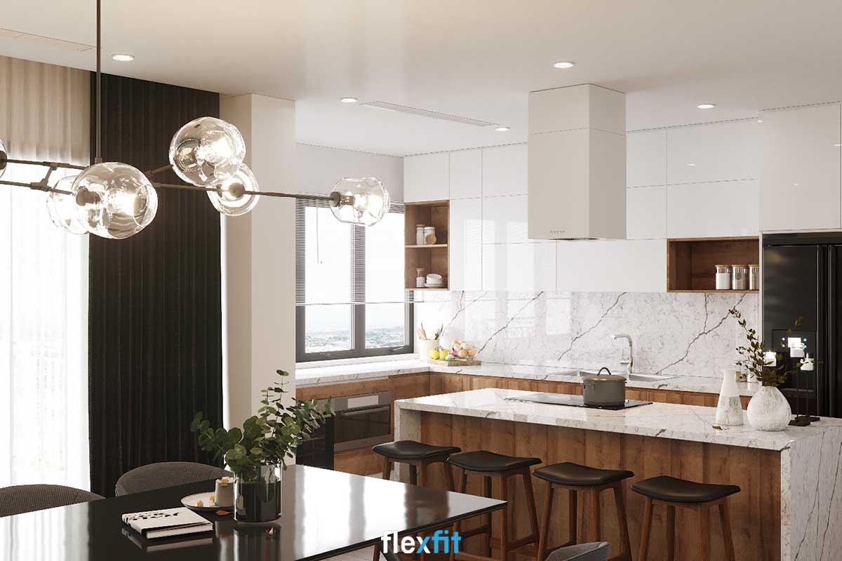 Tủ bếp chữ L lõi MDF phủ Acrylic màu trắng và nâu gỗ