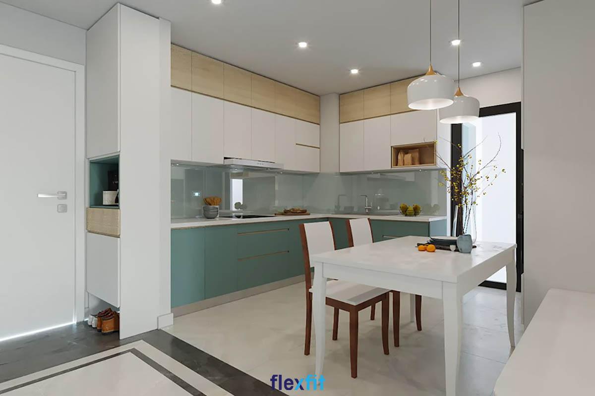 Tủ bếp Acrylic màu xanh lá và nâu nhạt có độ bóng sáng cao