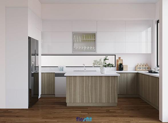 Tủ bếp chữ U lõi MDF phủ Acrylic màu trắng và nâu vân gỗ