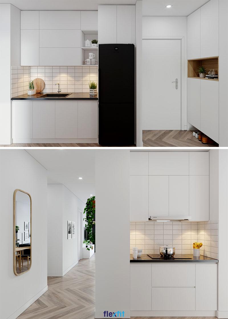 Căn bếp 12m2 sẽ có cảm giác rộng, thoáng hơn rất nhiều nếu bạn lựa chọn tủ bếp song song phủ Acrylic màu trắng tinh khôi bố trí ở hai bên góc tường như thế này
