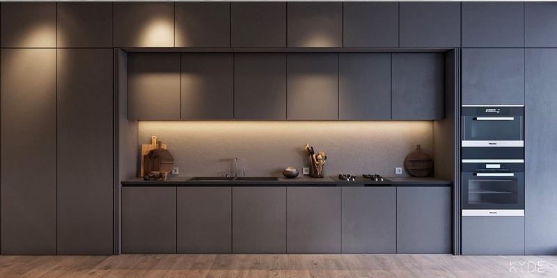 Mẫu tủ âm tường kiểu dáng chữ I sở hữu gam màu xám đậm sạch và sang trọng. Sản phẩm được phủ chất liệu Acrylic sáng bóng giúp cho góc bếp thêm đẹp và thoáng tầm mắt.