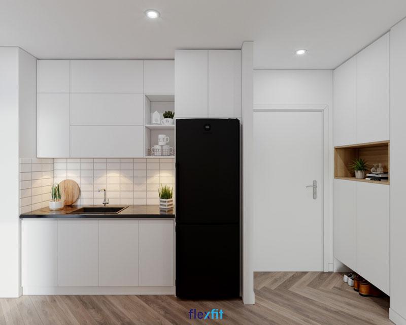 Nên chọn tủ bếp màu sắc tươi sáng để tạo cảm giác rộng rãi và thoáng đãng cho không gian