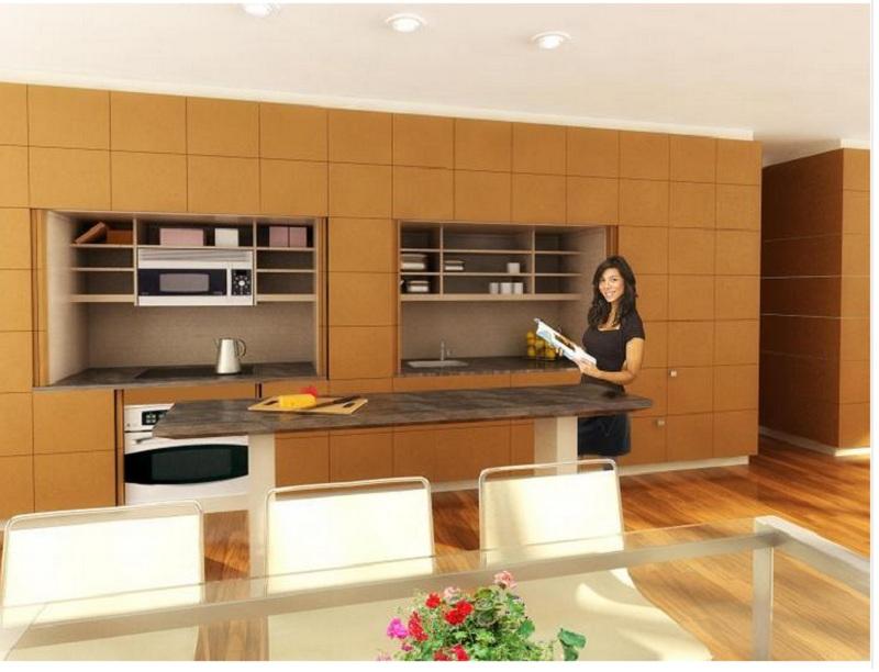 Tủ bếp âm tường chữ I ốp gạch đồng bộ với màu tường, sàn nhà. Tủ bếp trên có nhiều ô chia bằng các vách ngăn và không có cánh, giúp người dùng tiện lợi khi lấy đồ.
