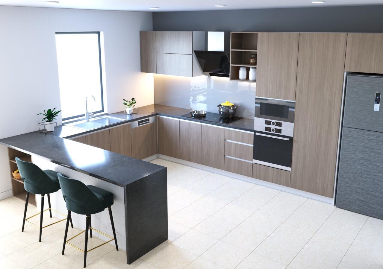 Tủ bếp chữ U kết hợp chất liệu gỗ, bề mặt đá tạo nên không gian bếp hiện đại. Đặc biệt, người sử dụng rất dễ lau chùi, vệ sinh