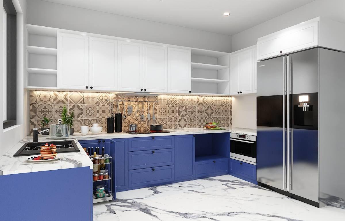 Mới lạ, ấn tượng và thời thượng với tủ bếp chữ U sơn màu trắng - xanh tím kết hợp gạch 3D Mexico hoa văn ốp tường bếp