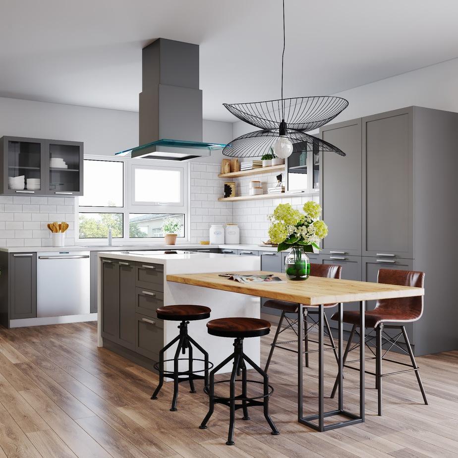 Tủ bếp cốt gỗ MDF chống ẩm sơn màu ghi xám hình chữ L đặc biệt phù hợp với căn bếp hiện đại. Đặc biệt là khi kết hợp với bàn đảo tiện lợi sẽ giúp bạn có nhiều không gian sinh hoạt hơn.