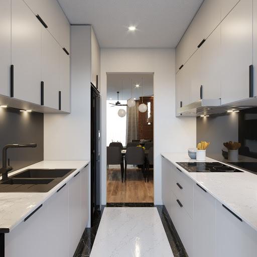 """Tủ bếp song song sử dụng hệ module này được Flexfit làm từ chất liệu gỗ MDF chống ẩm phủ Melamine. Gam màu được sử dụng là màu trắng """"thần thánh"""" với vẻ đẹp sang trọng và tạo cảm giác không gian thoáng đãng hơn. Các tay nắm tủ, bồn rửa, chi tiết nội thất đi kèm tủ bếp đều là màu đen, rất nổi bật trên nền trắng."""
